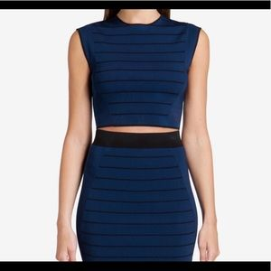 NEW Ted Baker Ottoman Striped Knit Crop Top sz M